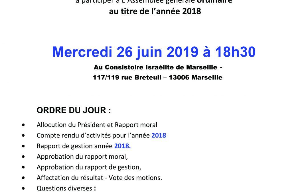 ASSEMBLEE GENERALE 26 JUIN 2019