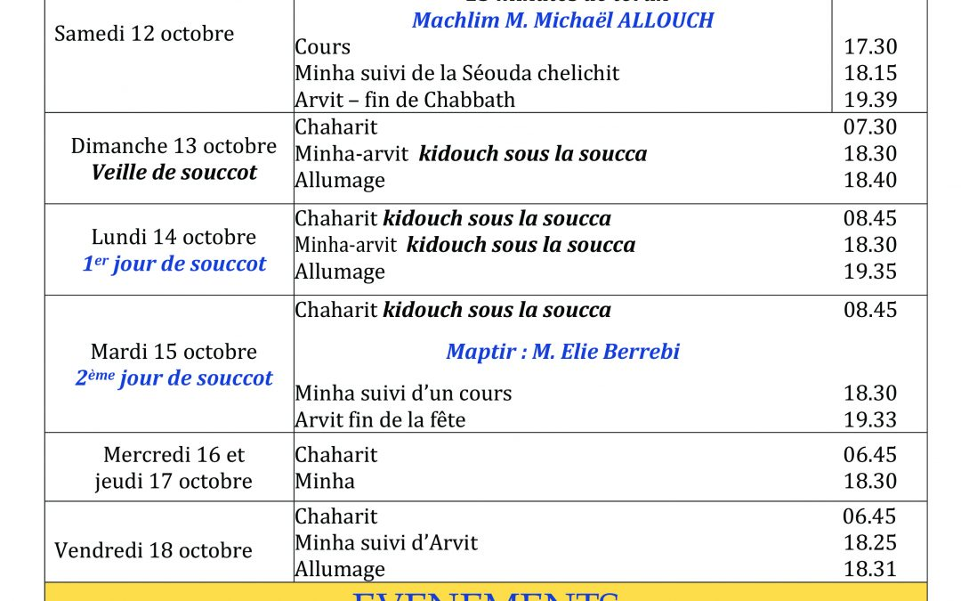 HORAIRES SOUCCOTH 5780