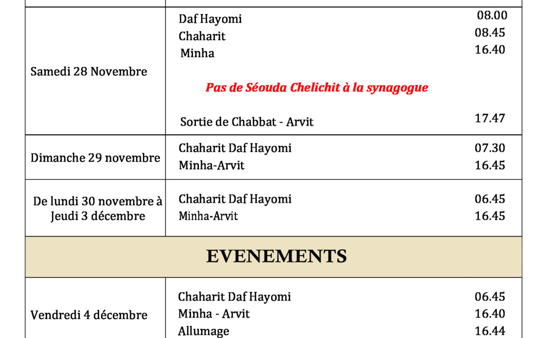 Horaires Offices Chabbat Vayetse